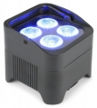 Laddbar batteridriven PRO uplight 48W LED RGBAW-UV med discoljus, strobb, UV blacklight, justerbart golvstativ. Klarar upp till 9 timmar på en laddning. 10 DMX-kanaler. 24-funktions trådlös fjärr. Inb